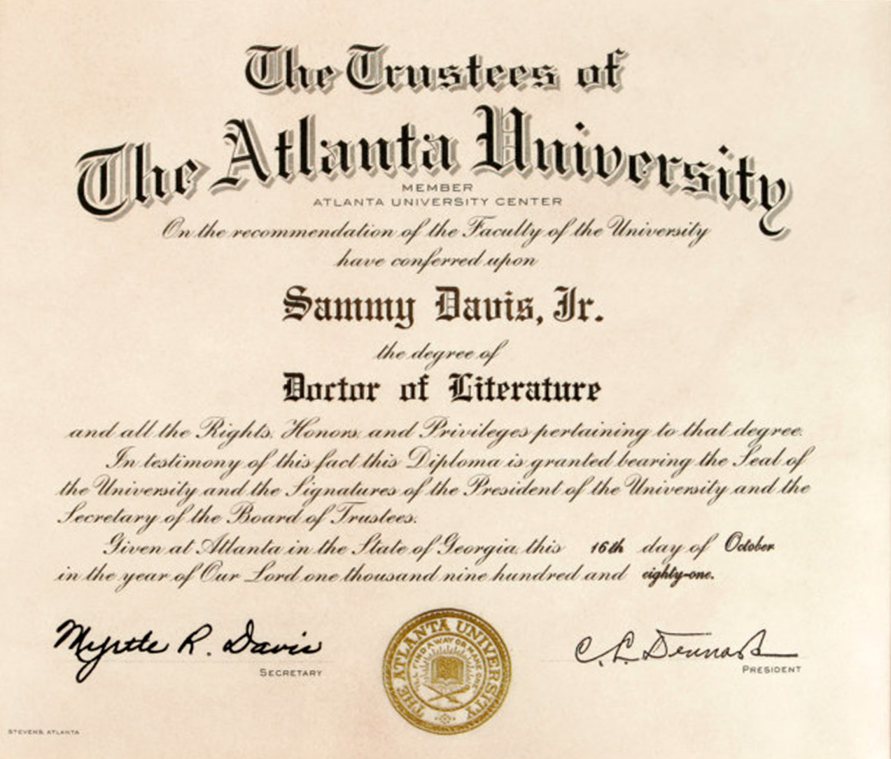 Sammy Davis, Jr. Degree from Atlanta University