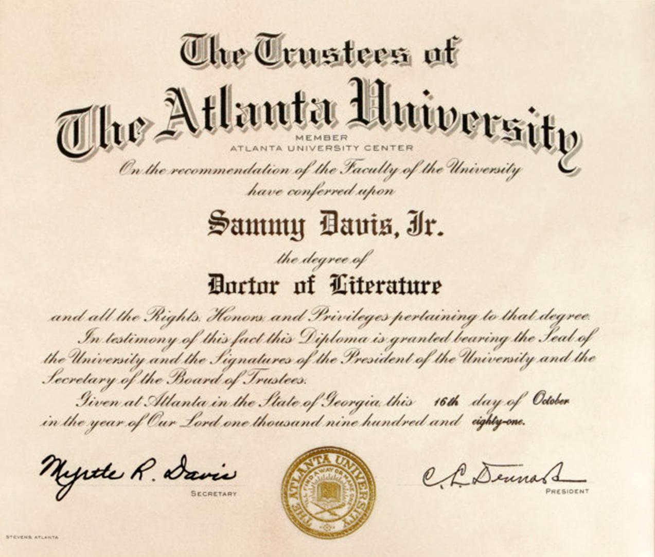 Sammy Davis, Jr. Degree from Atlanta University