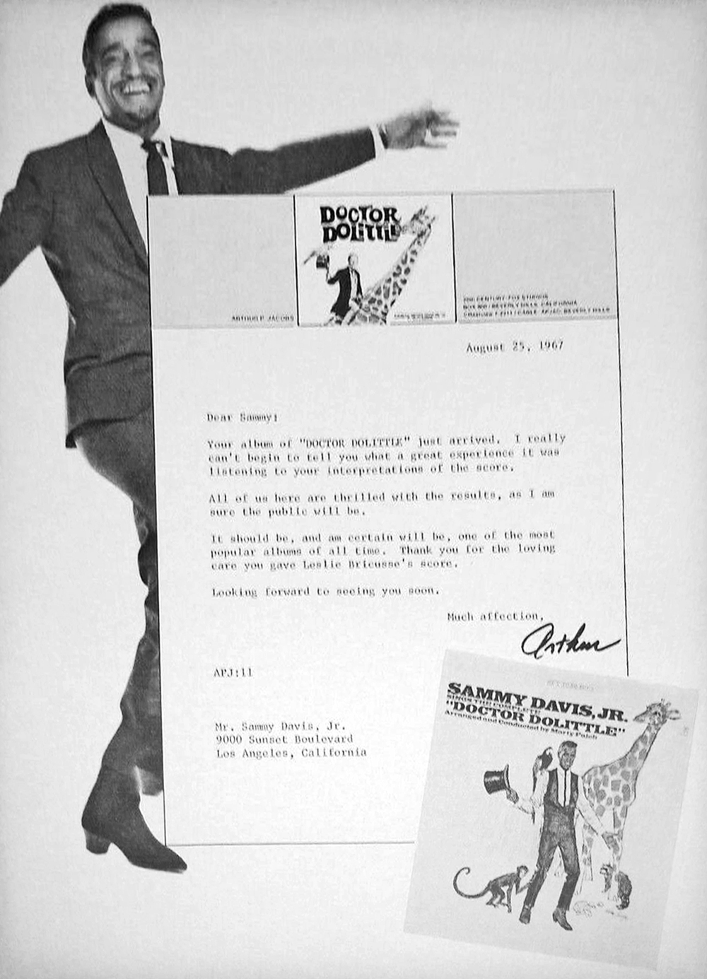 Letter from Producer Arthur Jacobs to Sammy Davis, Jr.