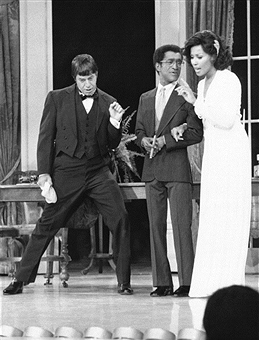 Sammy Davis, Jr. with Jerry Lewis and Diahann Carroll on the Follies premiere