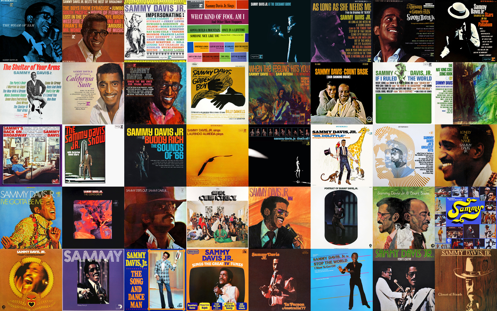 Sammy Davis, Jr. albums on Reprise, Motown, MGM, 20th Century, RCA and Warner/Curb