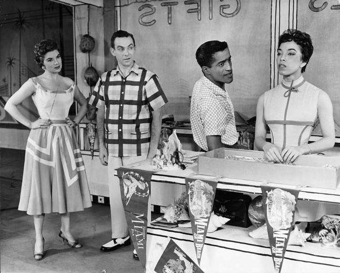 "Pat Marshall, Jack Carter, Sammy Davis, Jr and Olga James in ""Mr Wonderful"". From the Collections of the Museum of the City of New York."